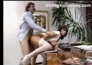 Vintage mom fucking hard from behind in the office
