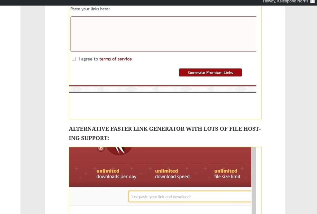 Premium link generators