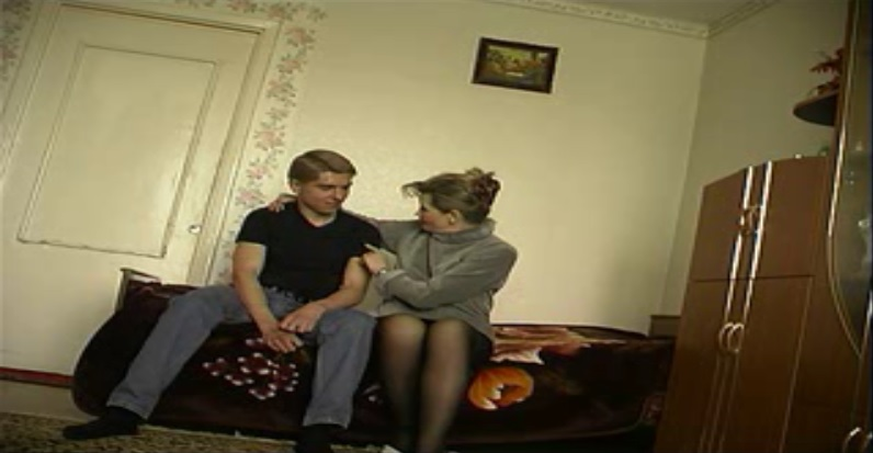 Russian Slut Stepmother makes her 19 years old son loses virginity