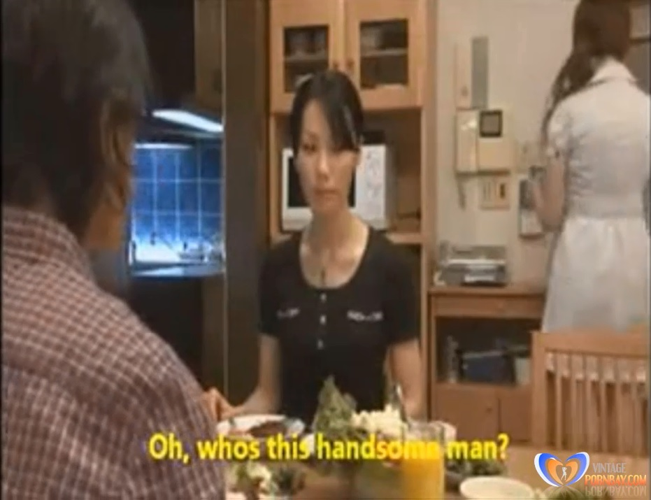Japanese milf and guy in home